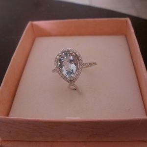 14KT WHITE GOLD 2.17ct AQUAMAR/DIAMOND RING SIZE 9